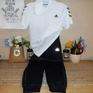 2pc. Boy's 10/12 ADIDAS cotton hoodie tee, pants